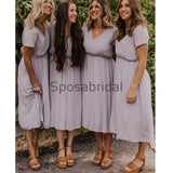Short V-Neck Light Purple Green Popular Bridesmaid Dresses  WG707