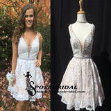 Short Lace A-Line HIght Quality Custom Cheap Homecoming Dresses wtih beads , BD0221