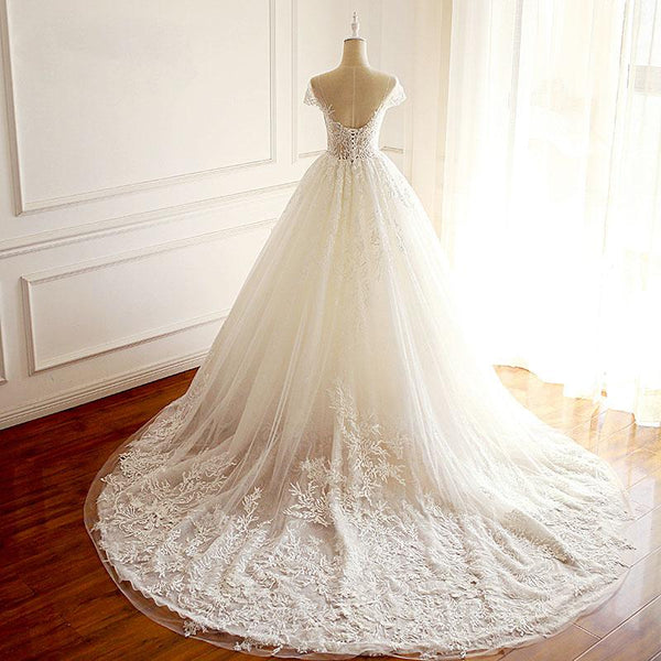 Short Sleeves Scoop High Quality Princess Wedding Dresses, Elegant Most Popular Real Made Bridal Gowns with train , WD0284
