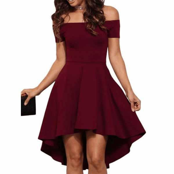 Short off shoulder high-low burgundy popular cheap top tight homecoming prom dress,BD00130