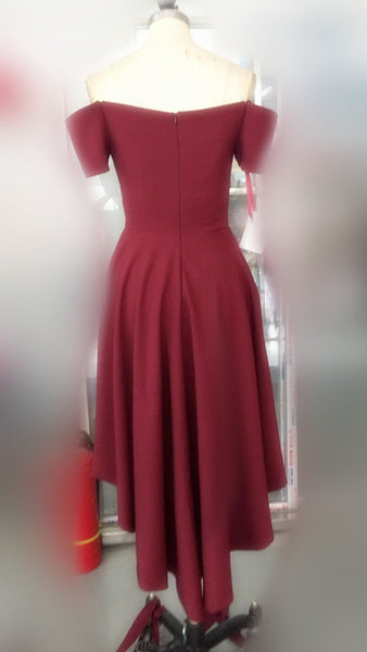 Short off shoulder high-low burgundy popular cheap top tight homecoming  prom dress a0f873619