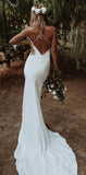 Simple Cheap Spaghetti Straps Popular Beach Wedding Dresses WD0617