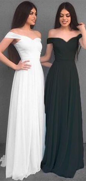 Simple A-Line Off Shoulder Long Chiffon  Prom Dress,Cheap Bridesmaid Dresses  ,WG365