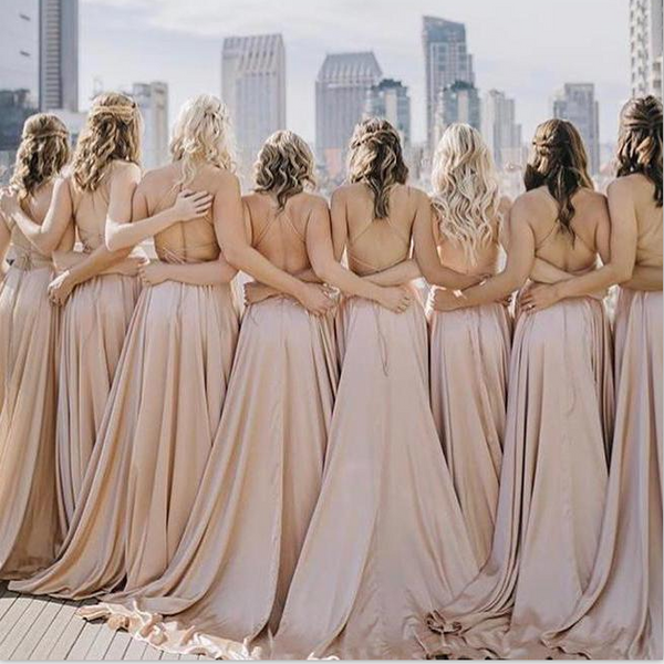 Simple Affordable Blush Pink Straps Soft Long Bridesmaid Dresses, WG522