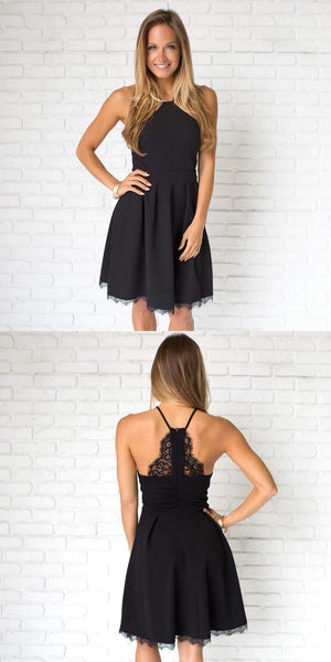 Simple Casual Short Cheap Black Homecoming Dresses 2018, CM524