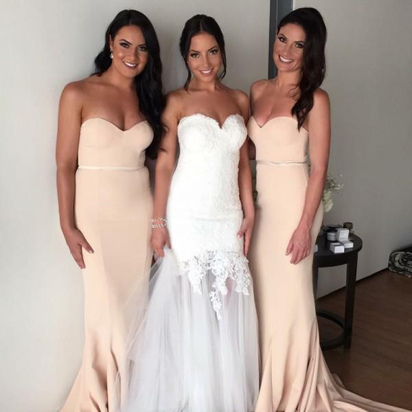Most Popular Bridesmaid Dress: Simple Most Popular Mermaid Sweetheart Sweep Train Light
