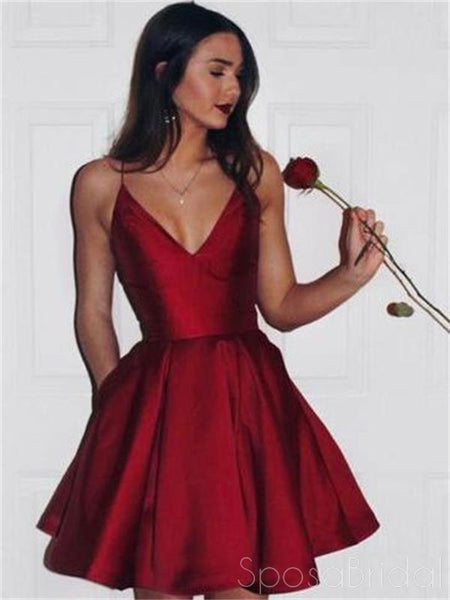 Simple Spaghetti Red Satin Short Prom Dresses Homecoming Dresses