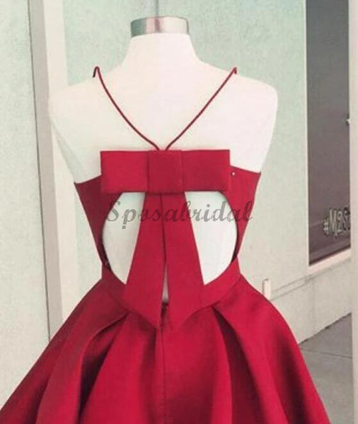 Simple Spaghetti Red Satin Short Prom Dresses, Homecoming Dresses, V-neck Prom Dresses, BD0400