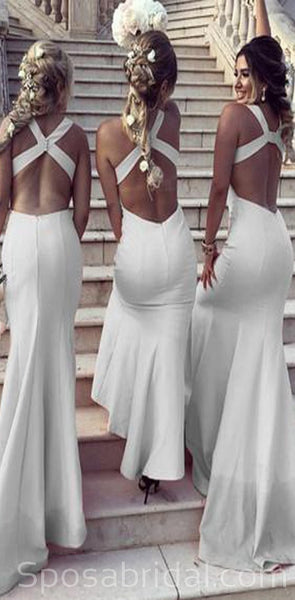 Sleeveless Formal Modest Sexy Long Satin Halter Open Back Mermaid Bridesmaid Dresses, WG539