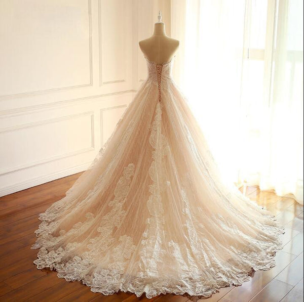 Sleeveless Sweetheart A Line Lace Up Back Unique Design Wedding