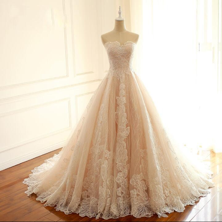 Sleeveless Sweetheart A-Line Lace Up Back Unique Design Wedding Dresses, Newest High Quality Custom Bridal Gown, WD0285