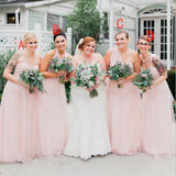 Soft Pink Lovely Tull Mismatched  Cheap Bridesmaid Dresses, Hot Sale Floor-length Formal Bridesmaid Dress Online , WG249