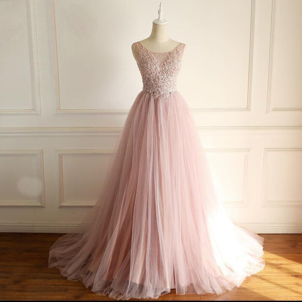 Scoop Dusty Pink Fashion Modest Wedding Dresses, Beading Tulle High Quality Free Custom Prom Dresses, WD0287