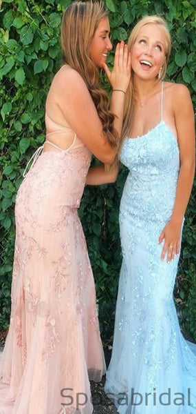 Spaghetti Straps Blue Lace Mermaid Prom Dresses PD2387