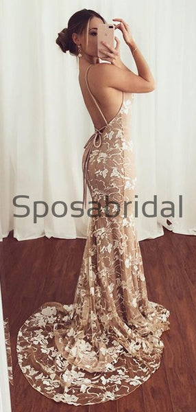 Spaghetti Straps Lace V-Neck Mermaid Modest Prom Dresses PD2180