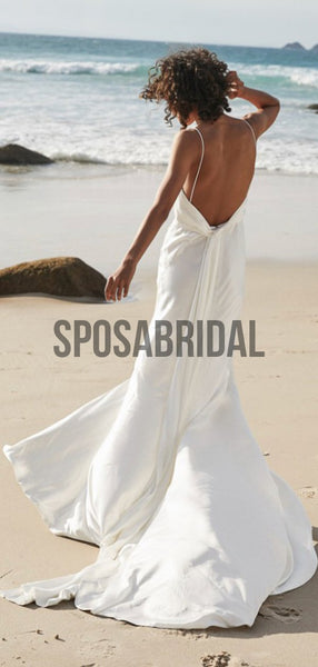 Spaghetti Straps V-Neck Simple Cheap Wedding Dresses WD0524