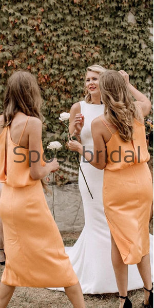 Spaghetti Straps Yellow Chiffon Simple Cheap Short Bridesmaid Dresses WG732