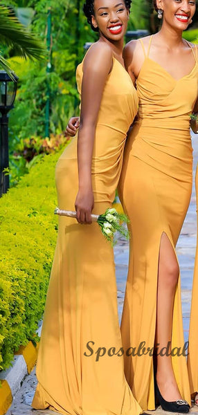 Spaghetti Straps Yellow Mermaid Long Bridesmaid Dresses WG924