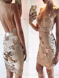 Spaghetti Straps Backless V Neck Mermaid Homecoming Dresses, Short Sequin Prom Dress,BD0416