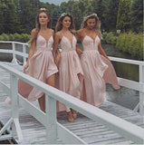 Spaghetti Straps High-Low Unique Design New Cheap Modest Bridesmaid Dresses,WG349
