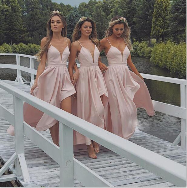 Spaghetti Straps High-Low Cheap Modest Bridesmaid Dresses,WG349