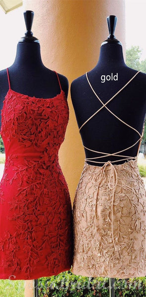 Spaghetti Straps Lace Appliques Pink Red Blue Yellow Mermaid Cute Homecoming Dresses, Short Popular Prom Dress,BD0417