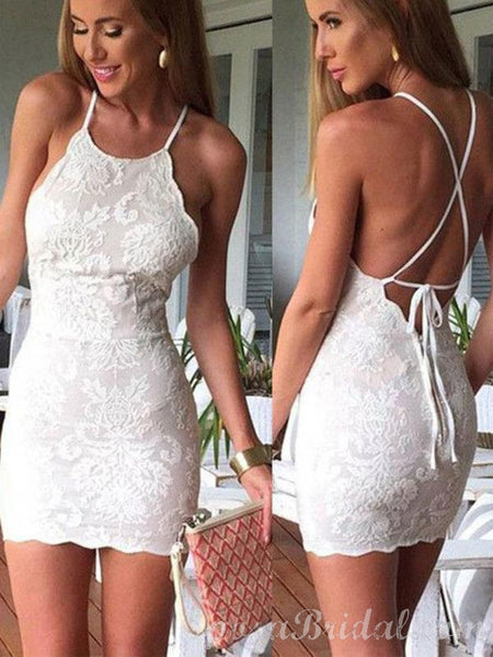 Spaghetti Straps Lace Mermaid Backless Homecoming Dresses,Short Prom Dress,BD0418