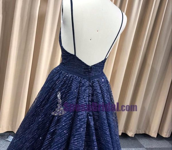 Spaghetti Straps Free Custom Made Sexy Glitter Deep-V Neck Prom Dresses, Elegant A Line Backless Cheap Long  Prom Dress, PD0741