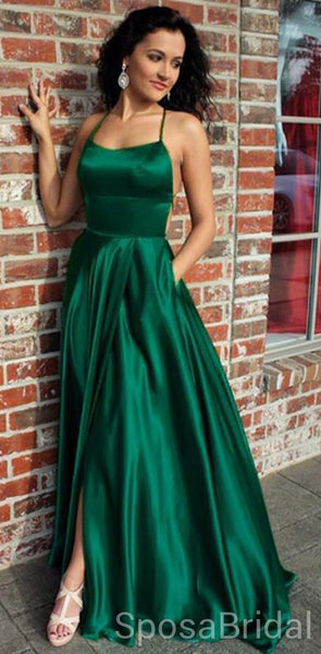 Spaghetti Straps Long Simple Cheap Soft Elegant Modest Long Prom Dresses, PD1280