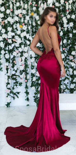 Spaghetti Straps Mermaid Sexy Modest Simple Long Fashion Tren 2019 Prom Dresses with lace, PD1217