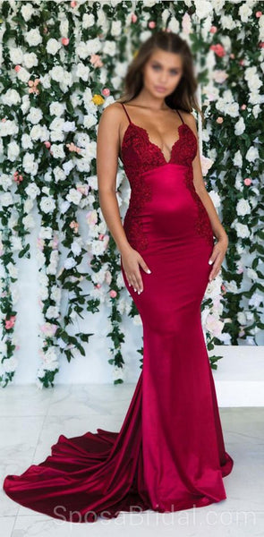 2020 Spaghetti Straps Mermaid Sexy Modest Simple Long Fashion Tren 2019 Prom Dresses with lace, PD1217