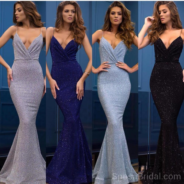 Spaghetti Straps Mermaid V -Neck Custom Long Elegant Sequin Fashion Prom  Dresses d97bc079c