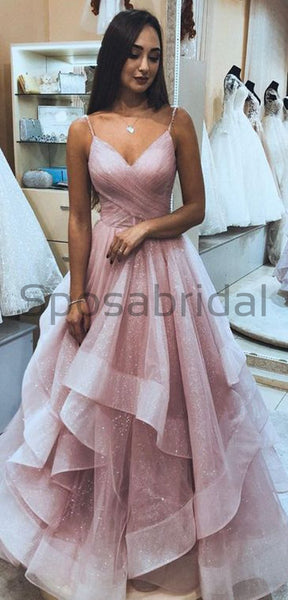 A-line Cheap Spaghetti Straps Pink Simple Modern High Quality Carming Long Prom Dresses PD1658