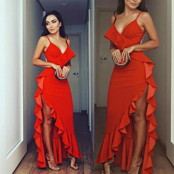 Spaghetti Straps Red  High Split Sexy Fashion Modest Cheap Prom Dresses , PD1001