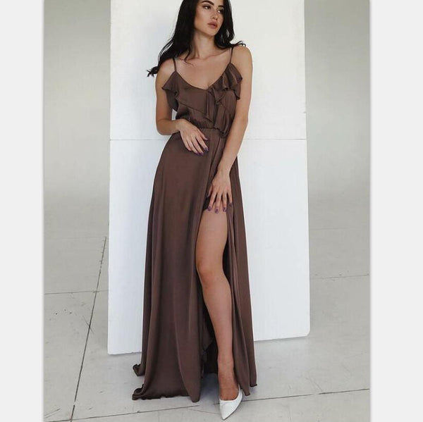 Spaghetti Straps Simple Cheap  Long Chocolate Prom Party Dress with Ruffles Split, PD0929