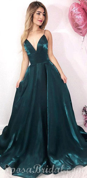 Spaghetti Straps Simple Custom Made Long Prom Dresses, Most Popular Prom Dress , PD1341
