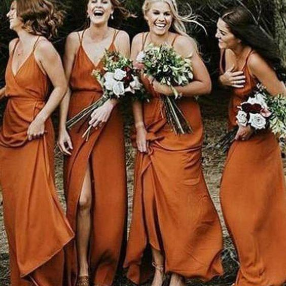2019 Cheap Spaghetti Straps Simple Popular A-Line V-Neck Orange Chiffon Fall Bridesmaid Dresses with Split , WG302 - SposaBridal