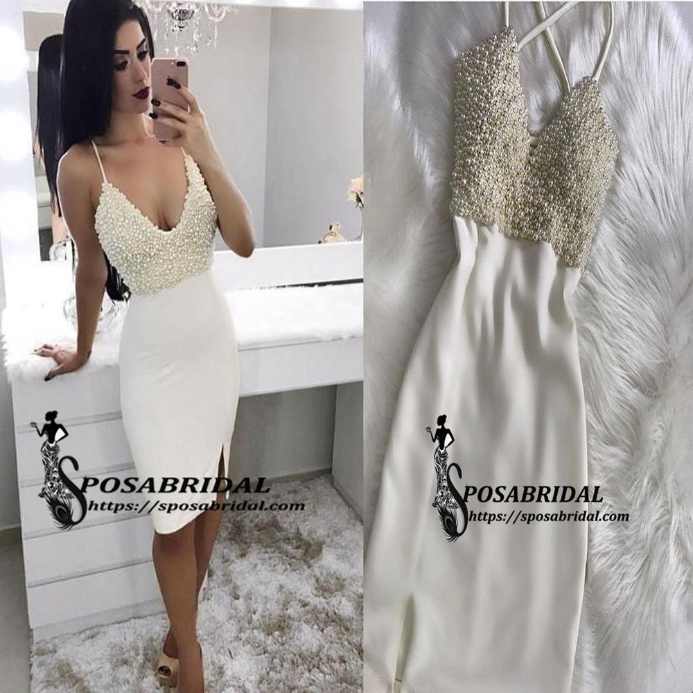 Spaghetti Straps Top Beading Tight Homecoming Dresses, Short Sexy prom dresses with split , BD0224
