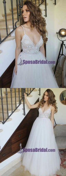 Spaghetti Straps Top Lace Beautiful Formal Prom Dresses, Bridal Dresses, Beach Wedding Dresses, PD0744