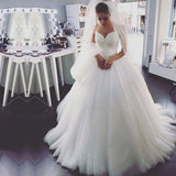 Spaghetti Straps V Neck Tulle Country Princess Unique Design Top Lace Wedding Dresses Ball Gowns, WD0306