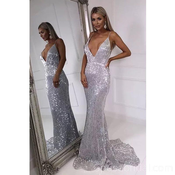 Spaghetti straps Sparkly Shinning Sexy Mermaid V-Neck Sequins Silver Prom Dresses, PD1364