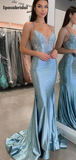 Sparkling Sweetheart Spaghetti Strap Mermaid Long Prom Dresses, PD3012