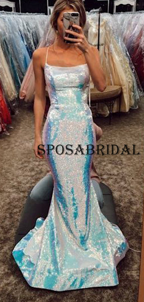 Sparkly Sequin Mermaid Sexy Simple Evening Prom Dresses PD2389