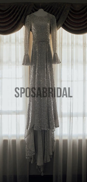 Sparkly Sequin Unique Long Sleeves Vintage Wedding Dresses WD0525