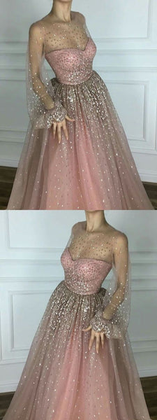 Sparkly Beaded Newest Scoop A line Floor-length Long Chic Prom Dresses,PD1010