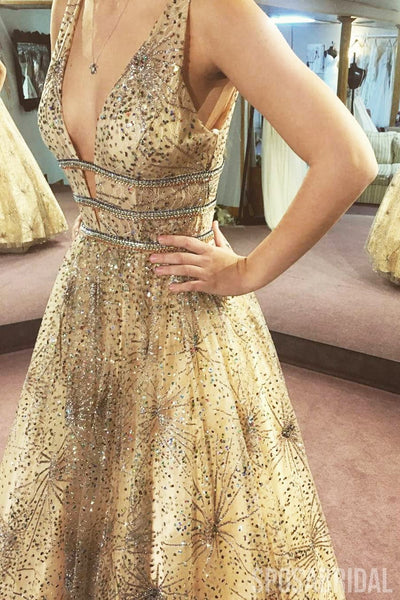 Sparkly Charming Custom Gold V Neck Shininig Gorgeous Long Prom Dresses, Party Dress ,PD1321