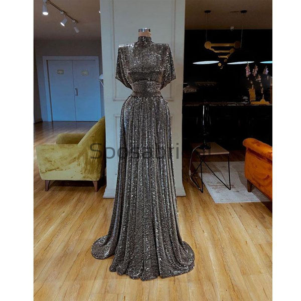 Sparkly Gray Sequin  Unique High Neck Cheap Formal Prom Dresses PD2096