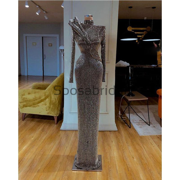 Sparkly Gray Sequin Unique High Neck Long Sleeves Formal Long Prom Dresses PD2097
