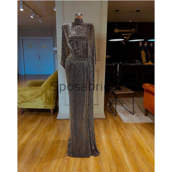 Sparkly Gray Sequin Unique High Neck Long Sleeves Formal Prom Dresses PD2098