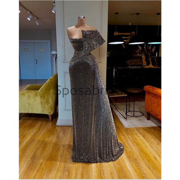 Sparkly Gray Sequin Unique High Quality Cheap Formal Long Prom Dresses PD2099